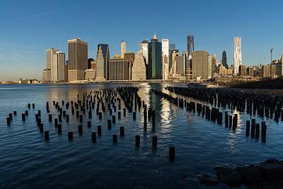 Photograph - Luminous Blue Silver And Gold - Manhattan Skyline And East River by Georgia Mizuleva