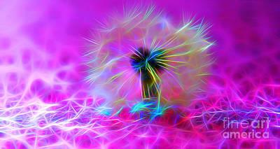 Abstract Flower Garden Digital Art - Luminous Wish by Krissy Katsimbras