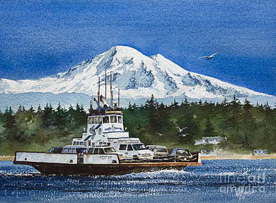 Lummi Island Ferry And Mt Baker Print by James Williamson