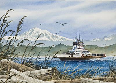 Baker Island Painting - Lummi Island Ferry by James Williamson