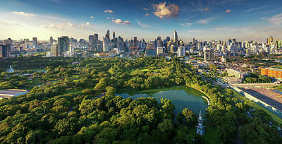 Photograph - Lumpini Park And Bangkok City Building View From Roof Top Bar  by Anek Suwannaphoom
