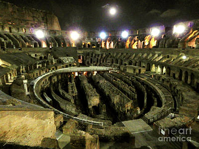 Photograph - Luna And The Illuminated Colosseum by Suzette Kallen