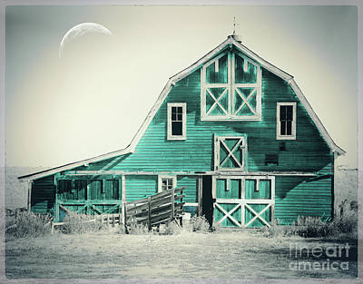 Luna Barn Teal Art Print by Mindy Sommers