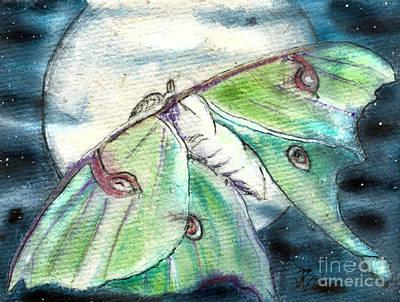 Painting - Luna Moth Full Moon by D Renee Wilson