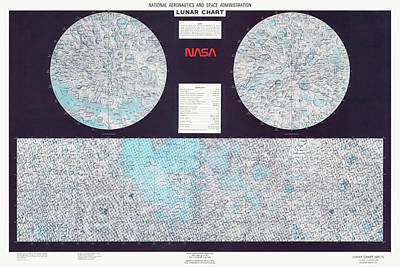 Moon Drawing - Lunar Chart From 1979 By Nasa by Blue Monocle