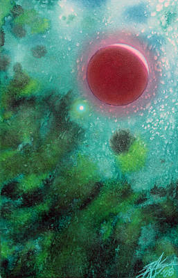 Painting - Lunar Eclipse With Saturn by Robin Street-Morris