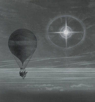Balloons Drawing - Lunar Halo And Luminescent Cross Observed During The Balloon Zenith's Long Distance Flight by French School