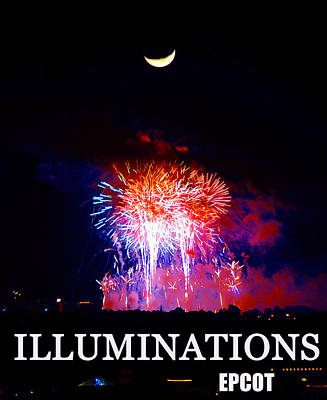 Photograph - Lunar Illumanations Epcot by David Lee Thompson
