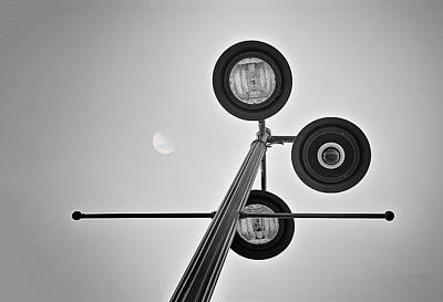 Street Lights Photograph - Lunar Lamp In Black And White by Tom Mc Nemar