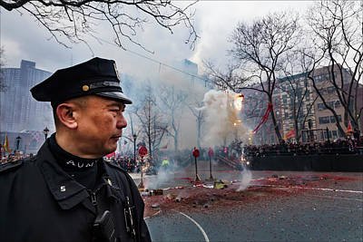 Lunar New Year Nyc 2017 Auxiliary Policeman And Fireworks Art Print