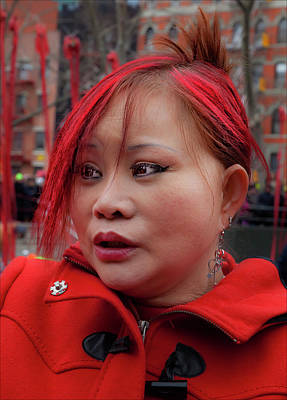Lunar New Year Nyc 2017 Woman With Died Red Hair Art Print