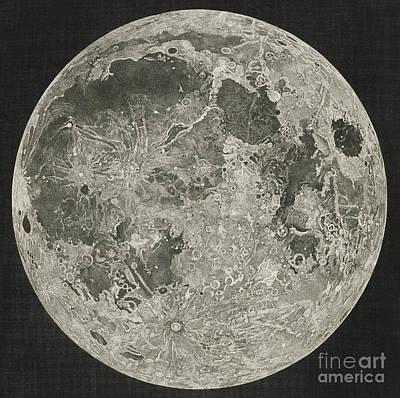 Moon Drawing - Lunar Planispheres by John Russell
