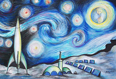 Earth Drawing - Lunar Starry Night by Jerry Mac