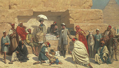 Tourist Site Painting - Lunch At Foot Of Pyramids, Gizeh by Franz Vinck