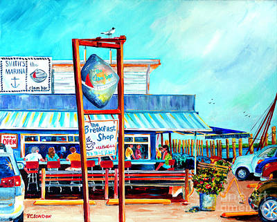 Colorful Boats Wall Art - Painting - Lunch At The Clam Bar by Phyllis London