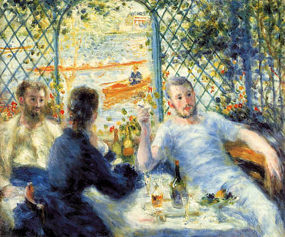 Rowing Painting - Lunch At The Restaurant Fournaise, The Rower's Lunch by Pierre-Auguste Renoir