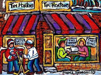 Painting - Lunch At Tim Horton's Coffee Shop Hockey Game Montreal Winter City Scene Canadian Art For Sale  by Carole Spandau
