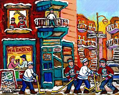 Street Hockey Painting - Lunch At Wilensky's Corner Diner On Fairmount Hockey Art Montreal Winter Paintings Carole Spandau  by Carole Spandau