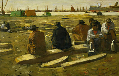 Lunch Break At The Building Site In The Van Diemenstraat In Amsterdam Art Print by George Hendrik Breitner