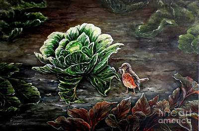 Cabbage Painting - Lunch In The Garden by Judy Kirouac