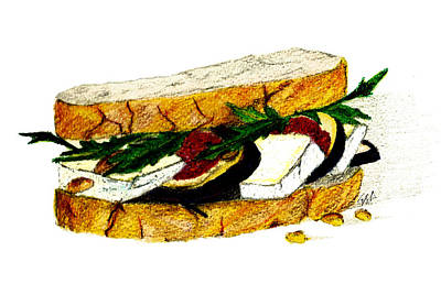 Bread And Cheese Painting - Lunch Menu #4- Fig And Brie Sandwich by Garima Srivastava