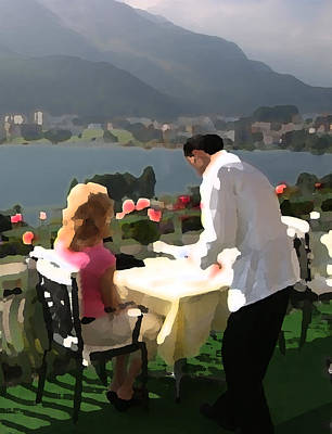 Waiter Digital Art - Lunch On The Terrace by Carl Purcell