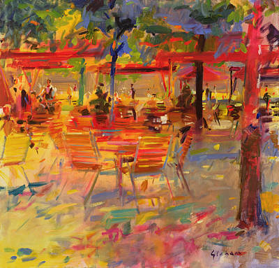 Warm Tones Painting - Lunch On The Terrace by Peter Graham