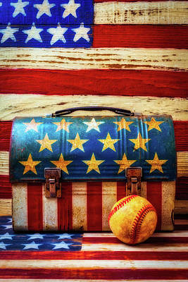 Lunch Pail And Baseball Art Print by Garry Gay