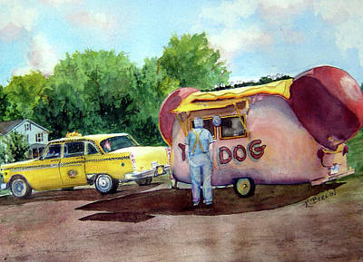 Hot Dog Stand Painting - Lunch Time by Katherine  Berlin