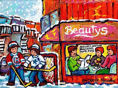 Our National Sport Painting - Lunch-time Winter Fun At Beauty's Restaurant Montreal Street Hockey Game Canadian Art Carole Spandau by Carole Spandau