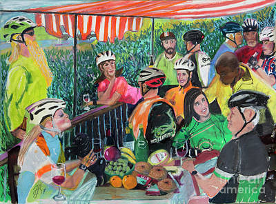 Painting - Pastel-luncheon Of The Cycling Party by Francois Lamothe
