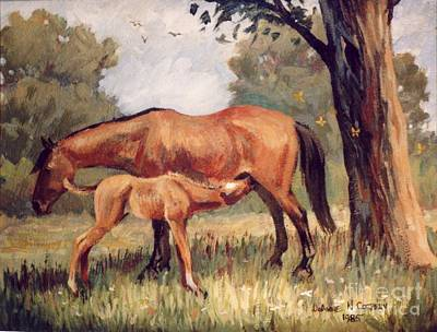 Lunchtime   Mare And Foal Art Print by JoAnne Corpany