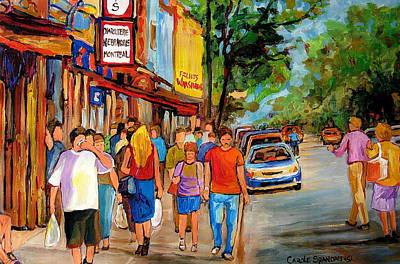 Montreal Cityscenes Painting - Lunchtime On Mainstreet by Carole Spandau