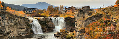 Photograph - Lundbreck Falls Panorama by Adam Jewell
