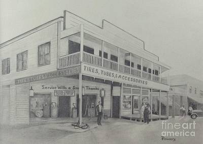 Drawing - Lundy's General Store  by Mary Lynne Powers