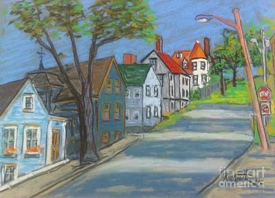 Pastel - Lunenburg Street Scene by Rae  Smith PAC