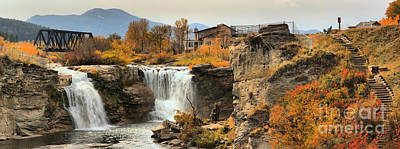 Photograph - Lundbreck Falls Fall Foliage by Adam Jewell
