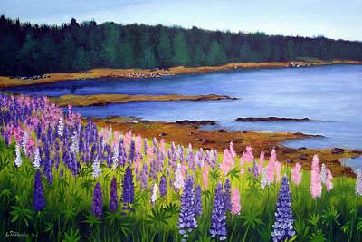 Lupines Painting - Lupine Bay by Laura Tasheiko