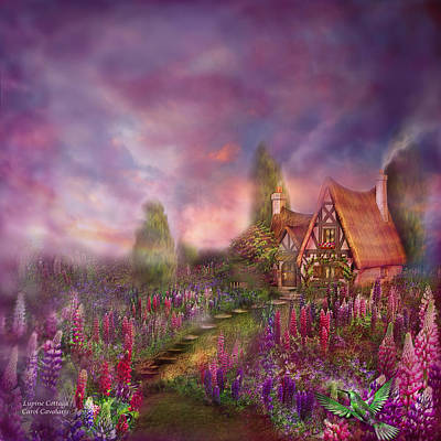 Lupine Cottage Art Print