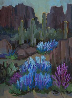 Desert Flower Painting - Lupine In Bloom At Boyce Thompson Arboretum by Diane McClary