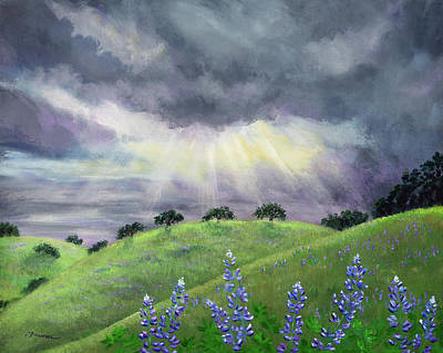 Lupine Painting - Lupines After A Spring Storm by Laura Iverson