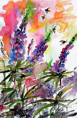 Painting - Lupines And Bees Flower Watercolor by Ginette Callaway