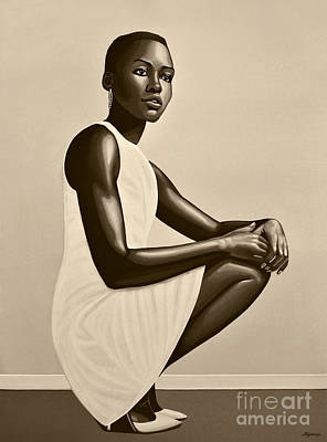 African Woman Painting - Lupita Nyong'o by Paul Meijering