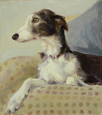 Wall Art - Painting - Lurcher On Spots by Claire Eastgate