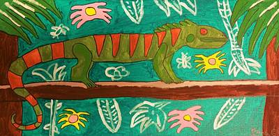Drucker Painting - Lurking Iguana by Brandon Drucker