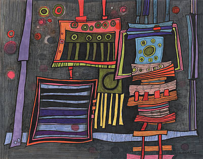 Colorful Abstract Drawing - Lurking Under The Bed by Sandra Church