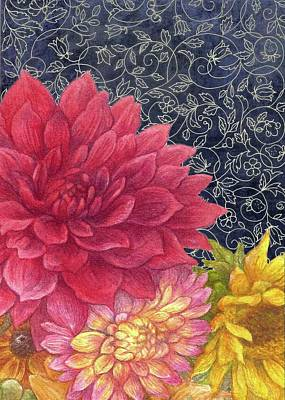 Painting - Lush Fall Botanical by Judith Cheng