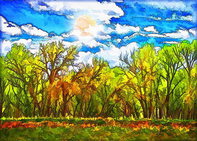 Digital Art - Bright Sky Forest - Boulder County Colorado by Joel Bruce Wallach