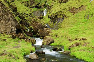 Print featuring the photograph Lush Icelandic Falls by Brad Scott