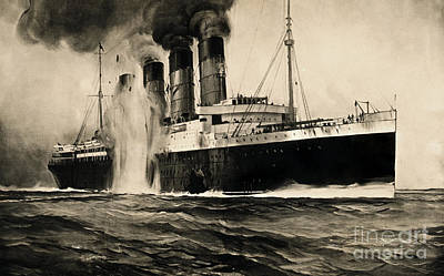 Lusitania Hit By Torpedo, 1915 Art Print by Photo Researchers
